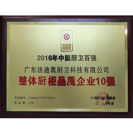 2016年中国厨卫百强整体<br/>厨柜品质企业10强